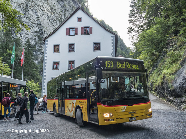 Tamina Gorge Swiss PostAuto Bus, Altes Bad Pfäfers, Canton of St. Gallen, Switzerland