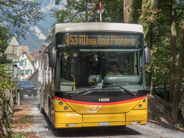 Tamina Gorge Swiss PostAuto Bus, Bad Ragaz, Canton of St. Gallen, Switzerland