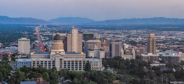 Salt Lake City Skyline Panorama, Utah, Summer 2019