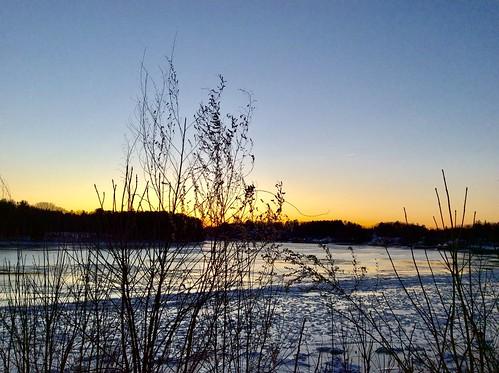 rivers winter sunset