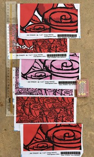 """""""Hand Painted Funky Quirky Roses"""", red, pink and red & white versions. 8x8 inch fabric test swatches. Original version hand painted with gouache paints, these were colored digitally."""