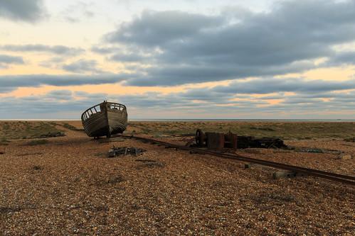 dungeness kent sun set sunset beach fishing boat wooden wreck