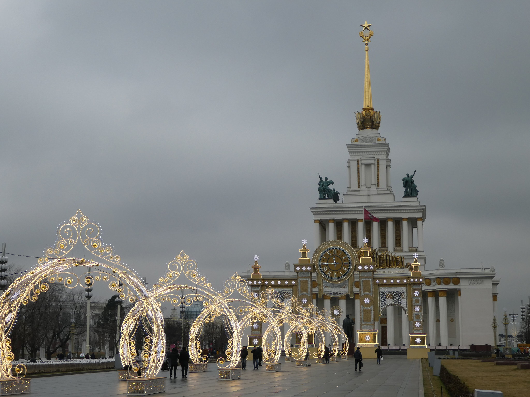Festive decorations at the VDNKh Park Moscow