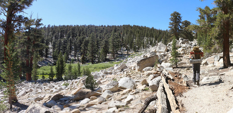 The foot trail roughly followed the outlet from the lowest of the Rocky Basin Lakes