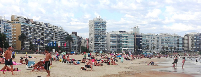 Many People Enjoying Pocitos Beach on a Monday Afternoon