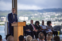 Acting Secretary of the Navy Thomas B. Modly delivers remarks during a Martin Luther King Jr. Day ceremony at Pearl Harbor that included formally naming USS Doris Miller (CVN 81). (U.S. Navy/MC2 Justin R. Pacheco)