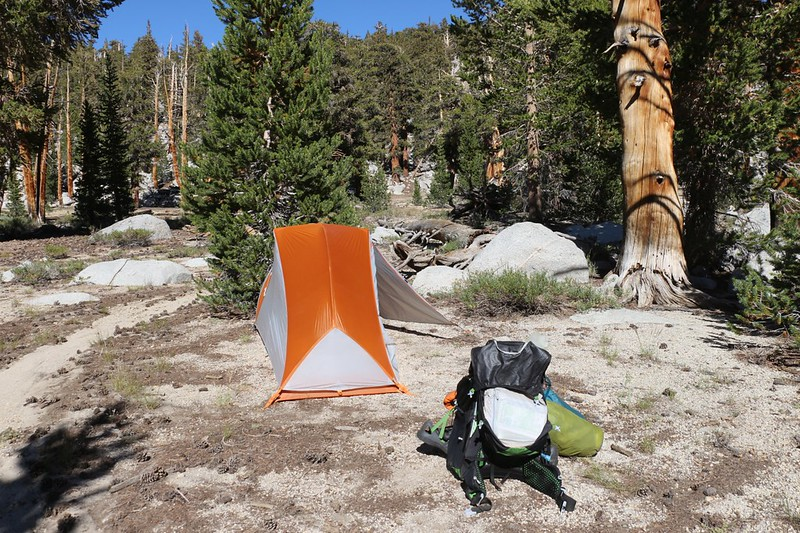 My Big Agnes Copper Spur UL1 tent on a sandy spot near the lowest of the Rocky Basin Lakes