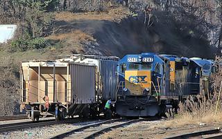 CSX Road Slug 2282 (built as B&O GP35 3546) in Marion, NC on November 21, 2012