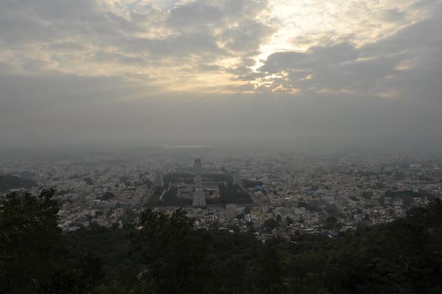 sun rising  over Tiruvannamalai
