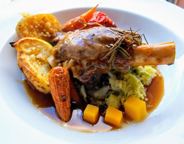 Slow Cooked Lamb Shank, Chantry Carrots, Garlic Roast Potato, Cubed Butternut Squash, Buttered Cabbage, Rosemary Sprigs & Lamb Jus