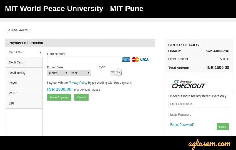MIT WPU 2020 payment of application fee