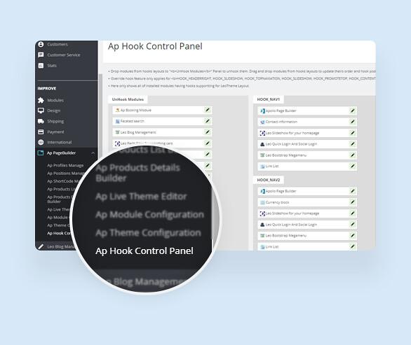 best drag and drop ap page builder Prestashop module-Effectively control Hooks with Ap Hook Control Panel