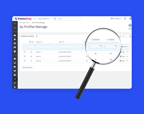 best drag and drop ap page builder Prestashop module-Available Profile Options to build Layouts  for Mobile or Tablet