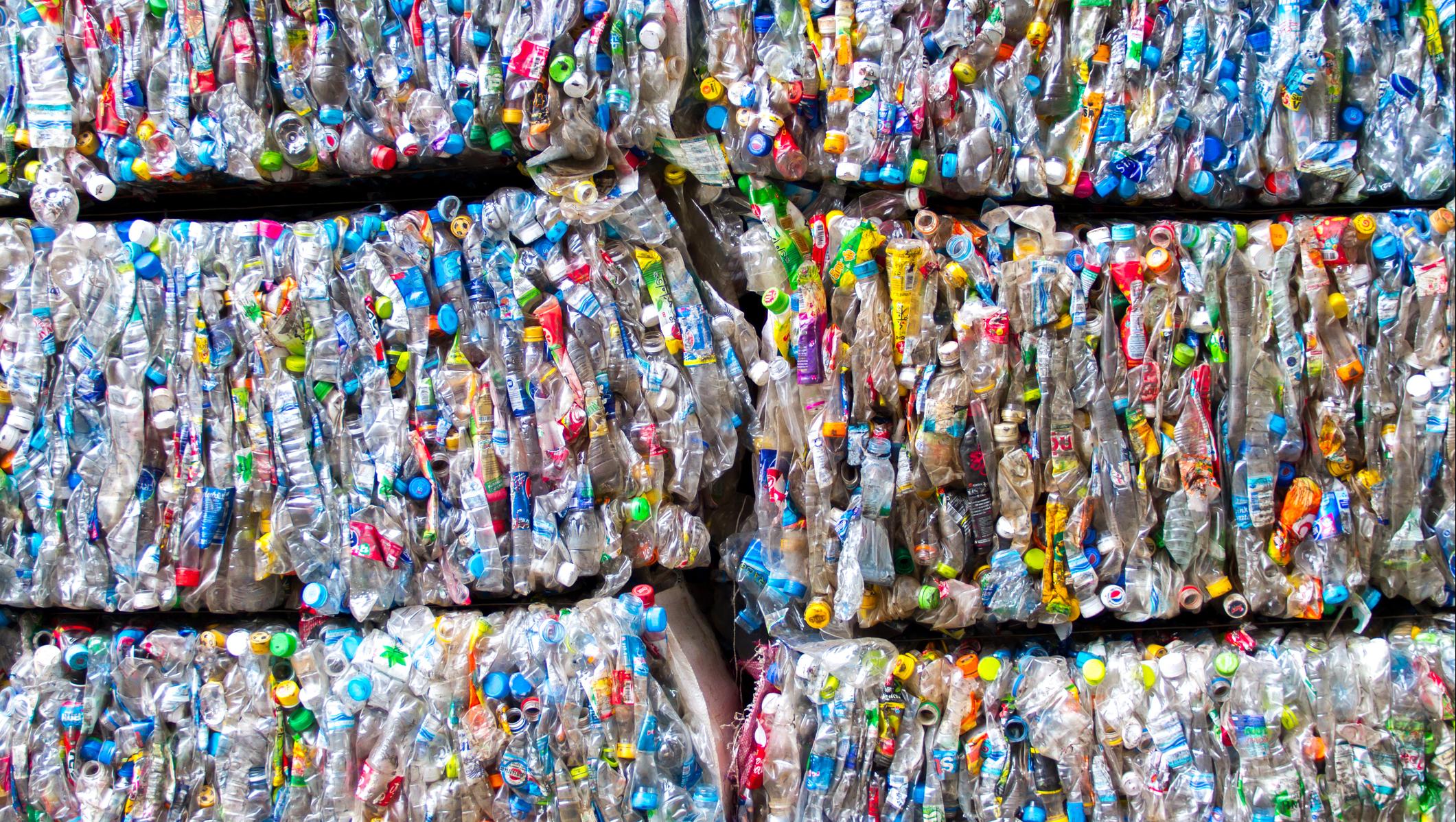 Blocks of plastic ready to be recycled.