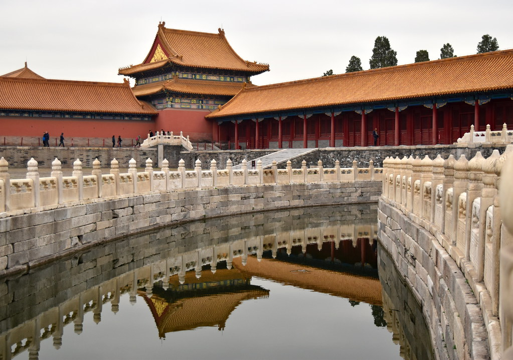 Forbidden City palace Golden Water river and classic Chinese architecture, Beijing, China