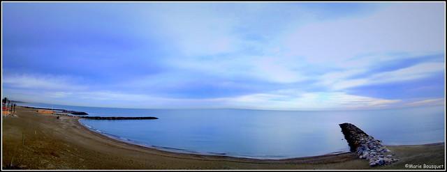 Panorama de la plage de Sainte-Marie en janvier