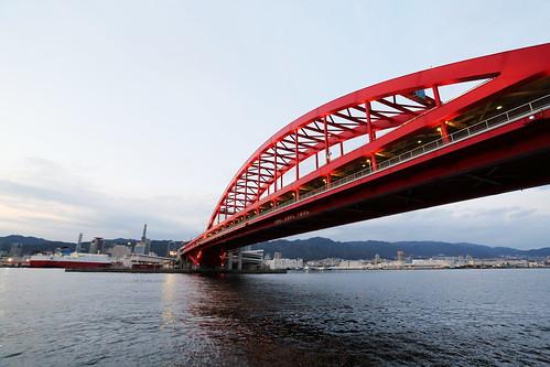 kobe sea harbor japan japon afternoon sunset bridge kobebridge 神戸大橋 港 夕焼け 橋 日本 神戸港 ポートアイランド北公園