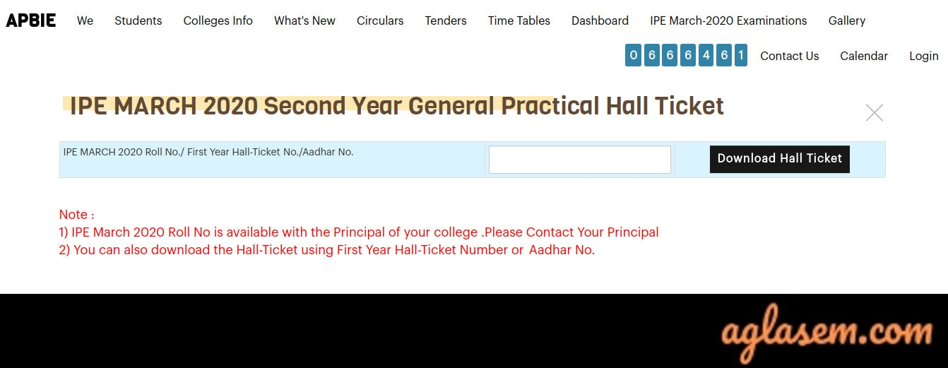 Practical Hall Ticket 2020