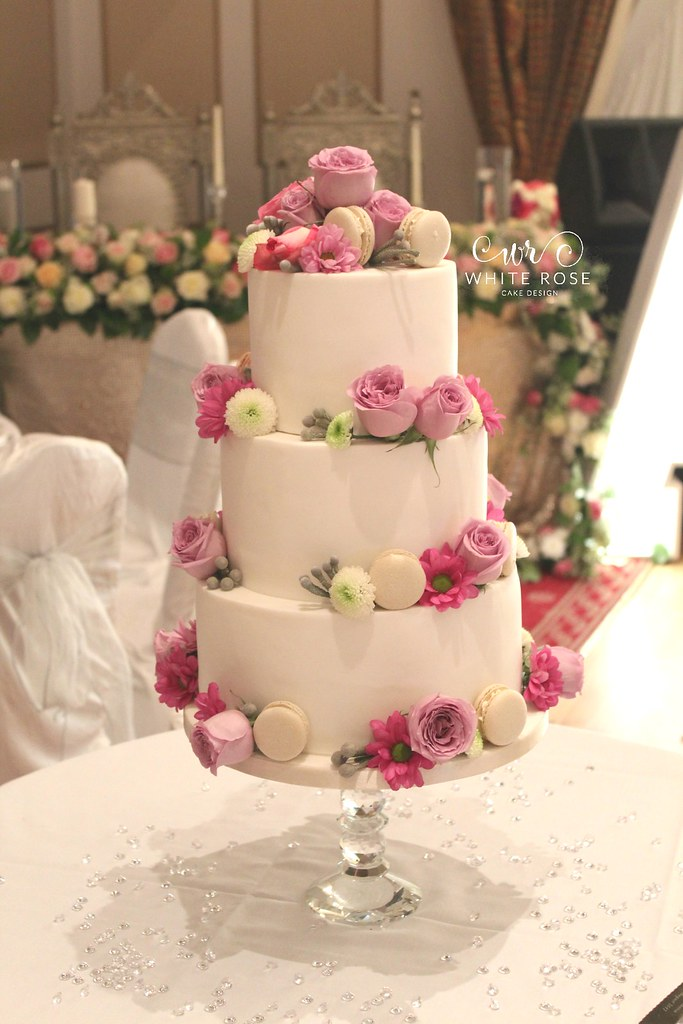 Hot Pink Bright Colourful Wedding Cake With Flowers And Ma Flickr