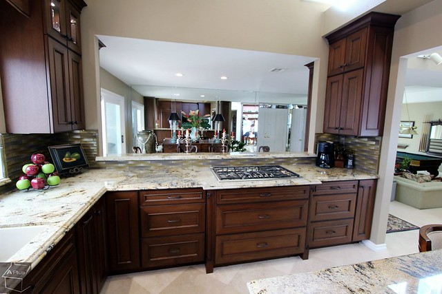 #KitchenRemodel with Thermador Appliances, Stainless Steele Gas Cooktop, #cabinets Cambria Quartz #countertop in #Irvine #OrangeCounty https://www.aplushomeimprovements.com/portfolio_page/orange-county-irvine-traditional-kitchen_remodel-custom-cabinets87/