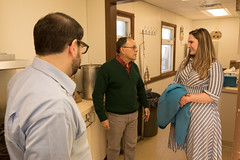 State Rep. Stephanie Cummings talks with Edwin Rodriguez, development director, and Anthony Guerrera, case manager, during a tour of the St. Vincent DePaul Mission of Waterbury shelter.