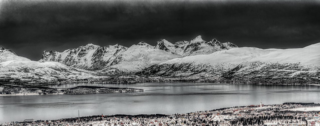Multi-photo panorama of dark clouds and rain on Tromso, Norway from the Storsteinen (The Big Rock) - 64b