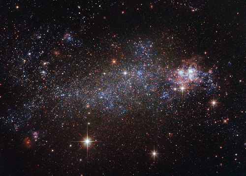 A view of space taken by the Hubble Space Telescope is pictured.