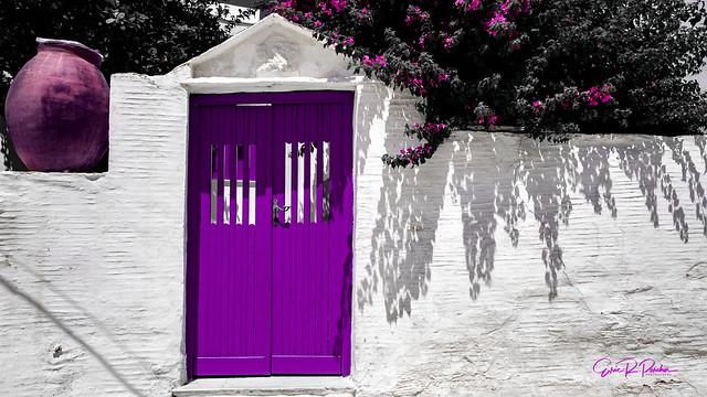 Deep Purple Front Door - Tinos 2017