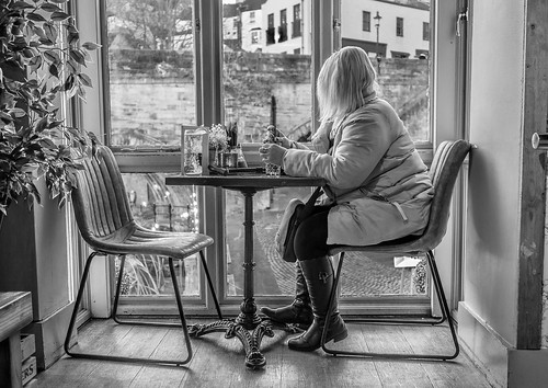 cwhatphotos flickr artistic art photographs photograph pics pictures pic picture image images foto fotos photography that have which with contain olympus omd em10 mklll walk around durham city north east england uk river wear land boat club window looking out view woman sitting sit table pub drink bw mono monochrome