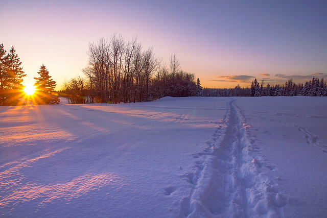 Snowshoeing the last sun rays of the day!