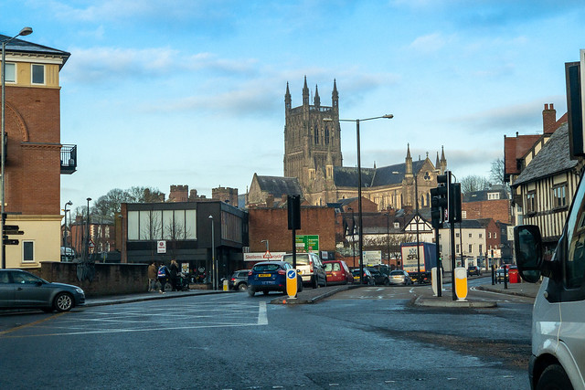 Worcester Cathedral dominates the city from this angle