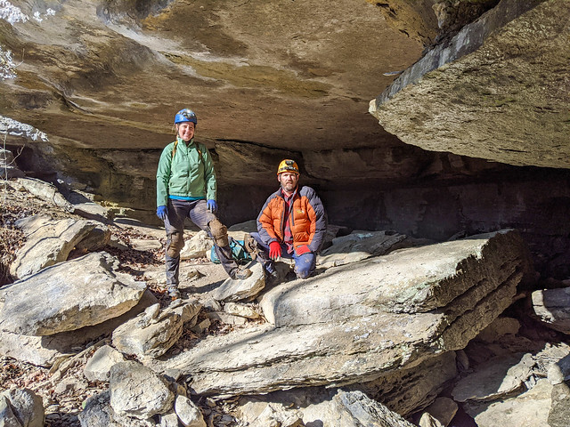 Julie Hudson, Chris Hudson, Laurel Creek Cave entrance, Van Buren County, Tennessee