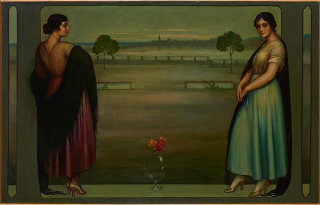 JULIO ROMERO DE TORRES, ca. 1912 Panel (Landscape Opening onto the Riverside Railing) / Oil on canvas, 142.0 × 222.0 cm