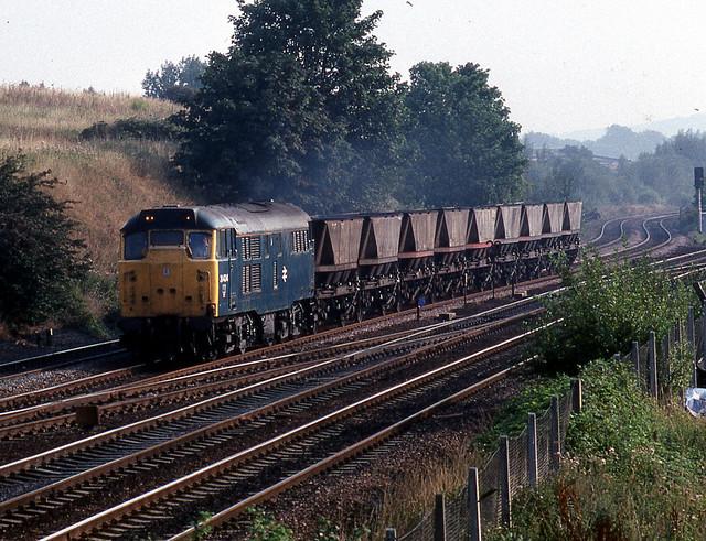 31 434 hauls a short rake of HAA wagons