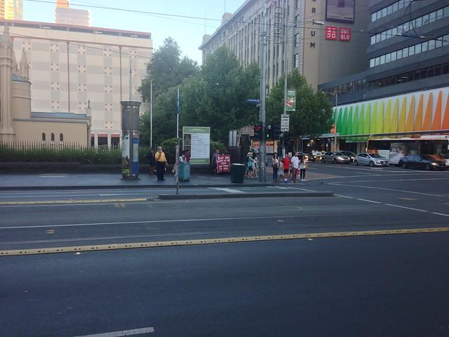 Christian preacher at corner of Elizabeth Street and Lonsdale Street, Melbourne
