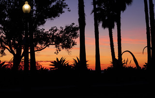 park lamp at sunset