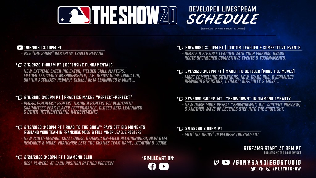 MLB The Show 20 Developer Livestream Schedule
