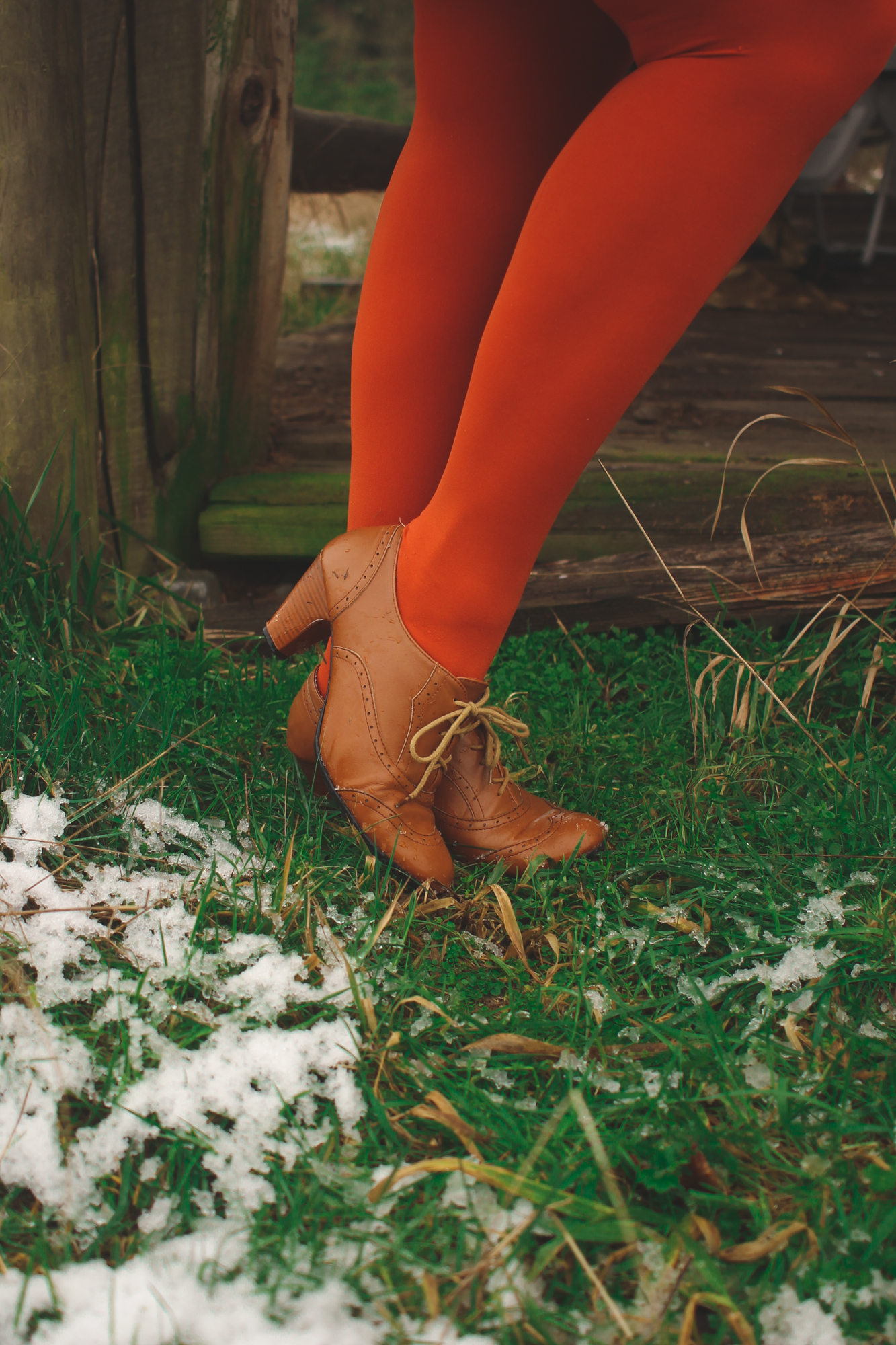 bright orange tights and brown vintage shoes