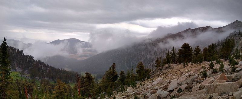 Panorama of the view east from Cottonwood Pass, with drifting clouds above Horseshoe Meadows