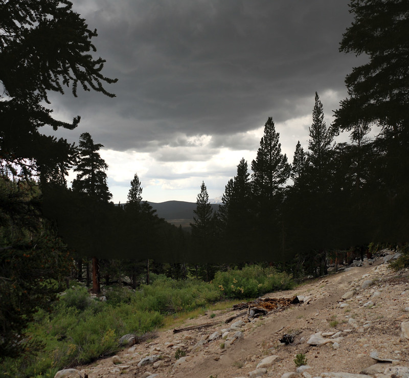 Looking west as we climbed toward Cottonwood Pass with dark rain clouds overhead