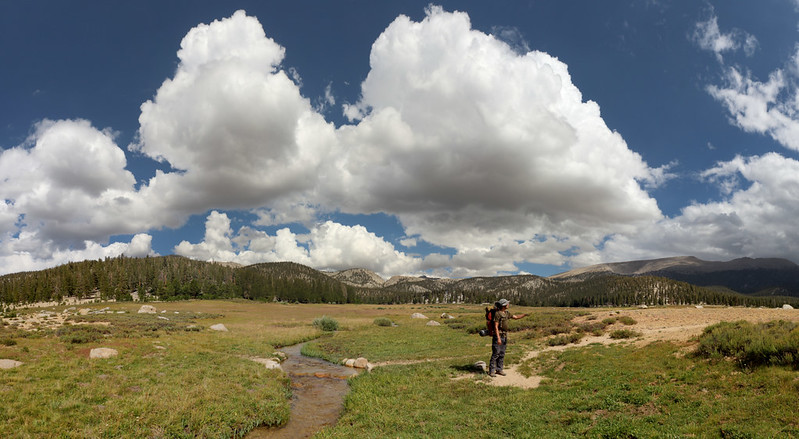 Panorama of Golden Trout Creek in Big Whitney Meadow with big clouds forming