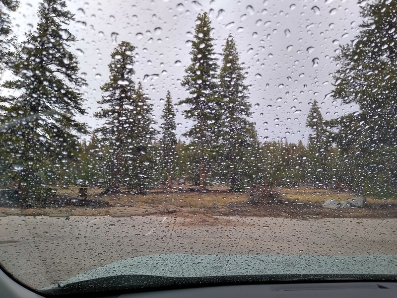 It felt good to be in the car in dry clothing after getting cold and soaked while hiking in the rain