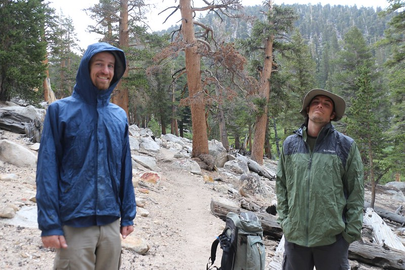 We put on our rain gear as the drizzle intensified while we made our way east toward Cottonwood Pass