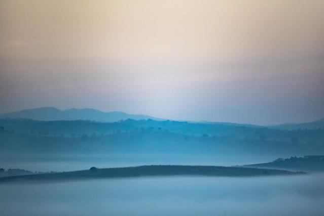 misty hills in the dawn