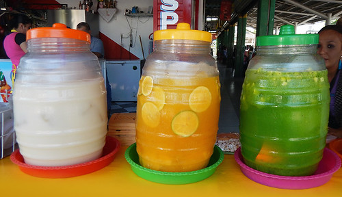 An array of aguas frescas in Tecoman, Mexico