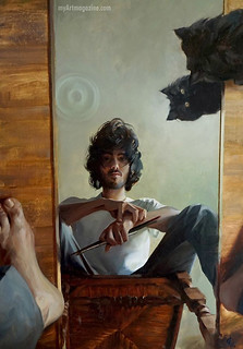 Self Portrait Painting Man Mirror