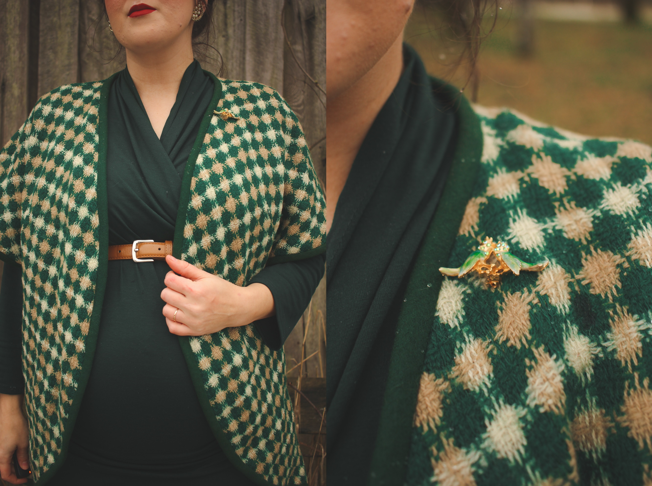 green plaid vintage jacket and bird brooch