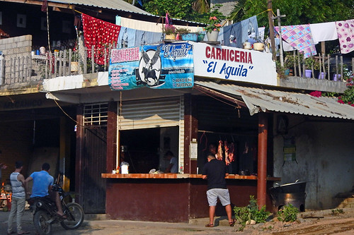 A carniceria as seen from the bus on the road to Lázaro Cárdenas