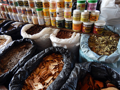 Herbal medications and woods chips in a store in Tecoman, Mexico