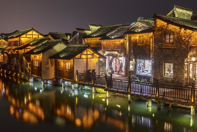 Night Scene along Wuzhen Xishi River